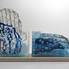 Under the Thames, sand cast glass, copper, limestone. 26 x 42 x 7 cm