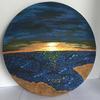 'Through the round window' acrylic mixed media on circular canvas.