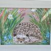 'Hedgehog in Hiding' framed acrylic painting