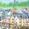 roof tops, the maltings, stanstead abbotts, painted and drawn with textile dyes on a stretched cotton canvas, 37 x 37cm