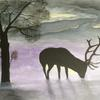 Stag In The Gloaming in acrylics
