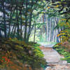Through the woods, an acrylic painting finished with Epoxy Resin,