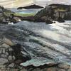 Tresco towards Bryher 2. Plein air. Acrylic landscape painting on board. Approx: 35x20cm Prints available.