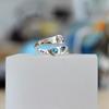 Blue quartz and cubic zirconia silver ring