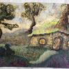 Hobit House - batik on tissue paper painted with inks bleach and acrylic