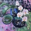 """Orchid.  Acrylic on 16x16"""" deep edged canvas. £80"""