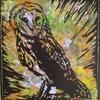 Barn owl linoprint on monoprint background