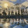 Winter Blues at Marsworth. Sunset/Trees/Watery reflections/boats/Canal boats/ walking