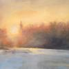 Snowy Sunset, Acrylic, by Allison Easton