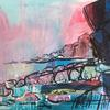 Seascape - mixed media collage on paper