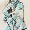 Seat male - charcoal on paper
