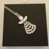 """A unique handmade angel inspired pendant necklace made of Silver Plated Copper Wire and Swarovski Glass pearls on an 18"""" 925 stamped silver chain."""