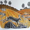Hand coloured lino cut of a hare in the Autumn.