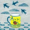 Yellow Mug, a multi block lino cut, clouds and birds in the background.