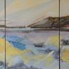 Scottish Landscape, mixed media and oil, triptych, 104 x 53, framed