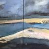 Bamburgh Beach Sands, acrylic, diptych, 66 x 66, framed