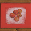 Apples. Coloured pencil on coloured paper.