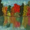 Autumn Reflections mixed media textile