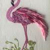 Bead Flamingo - Textile art of a flamingo made of fabric beads and embellished with machine embroidery