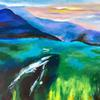 Beautiful sunset over the hills, landscape, acrylics on canvas, 80x60cm, £120