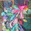 Bejewelled Peacock - 3D-Textile art - Heavily foiled and beaded 3D peacock and embellished with machine embroidery