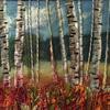Birches in Autumn mixed media textile