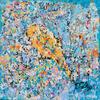 'Little bird' Acrylic on canvas 40x40cm framed on a floating frae
