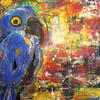 Funny Blue Bird (Acrylic Mixed Media on Canvas)