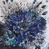 Blue Cornflower Burst (60x60cm) Expressive floral, acrylic on deep edged canvas