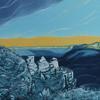 """Blue mountains II"" - Mixed media print"