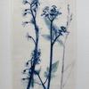 Bluebell & purple grasses and underglazes on framed porcelain tile