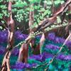 Bluebells at night - landscape: acrylics on wood, 40x50cm £70