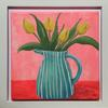 Blue striped jug of yellow tulips on a bright pink and red background - Acrylic paint on canvas