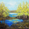 Blue Lake, Acrylic on canvas, 30 x 30 cm