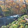 'River Teign Autumn' - mist over the water, autumn colours on the trees, a moody landscape in oils.
