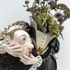 Mary Queen of Scots stoneware ceramic vase sculpture. 25cm tall. £250