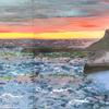 'Whitby Sunset' acrylic and mixed media on canvas