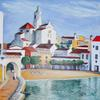 'Cadaques after siesta' inspired by Dali and this beautiful village.  Acrylic.  60 x 60 cm square.