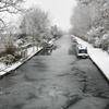 Rickmansworth canal in the snow...desaturated in parts & given an oil painting look.