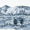 Catbell Hills - Acrylic paint on paper 60x70cm framed under glass