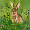 Rabbit in the Grass // Acrylic on Canvas Board (20 x 20 cm)