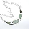 Beach Glass set in sterling silver with handmade chain.