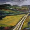 'Chalk Path 1' oil on linen, 70 x 70 cm.  Part of a series inspired by Royston Heath.