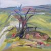 'Chalk Path Tree 2' oil on canvas, 40 x 40 cm.  Part of my Royston Heath series.