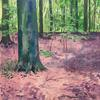 Chipperfield Woods. Acrylic gouache on watercolour paper; 31 x 42cm.