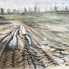 Field at Church End : Watercolour Pencil and Graphite Drawing 40x30cm Unframed £100
