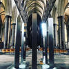 Circle of Light 2019 by Diane Maclean. Stainless steel and LED lighting.  People. including disabled, can enter the sculpture and see themselves reflected on the surrounding columns.  Created for exhibition in Salisbury cathedral 2019