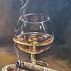Cognac & Cigar -original oil painting by Gavrailov Art-Oil on canvas | Size: 23x30cm | Brush | Hand Signed | 2021