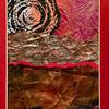 An embellished paper collage - a fantasy landscape - celebrating colour