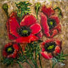 """Copper Poppies"" An Impasto Acrylic & Resin Painting By Artist Loren"